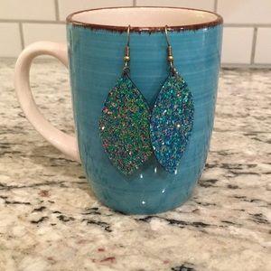 Glitter faux leather earrings